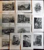 Picturesque Europe C1875 Lot of 12 Engravings Italy