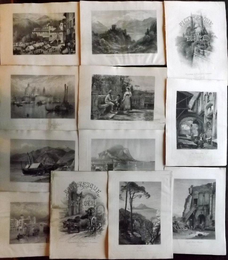 Picturesque Europe C1875 Lot of 12 Engravings. Italy