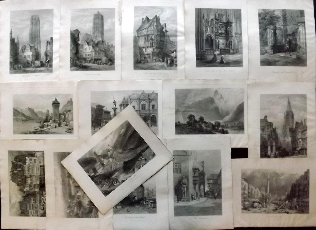 Picturesque Europe C1875 Lot of 15 Steel Engravings