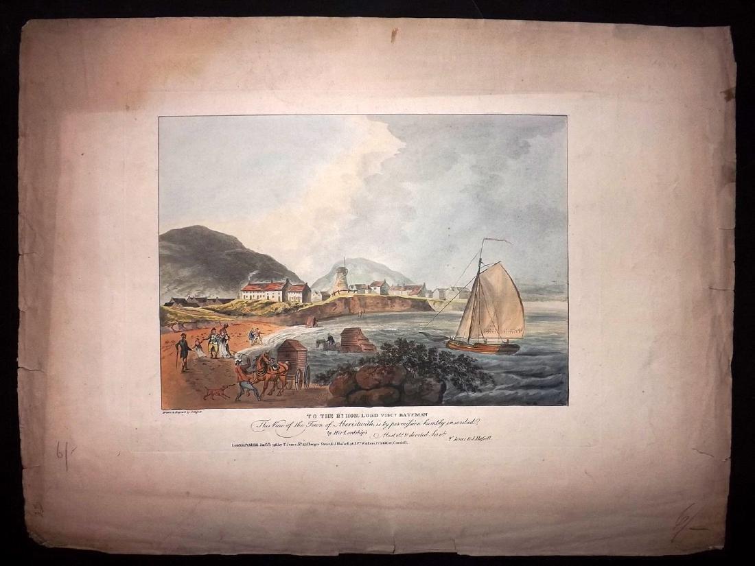 Wales - Aberystwyth 1796 Rare Hand Coloured Print