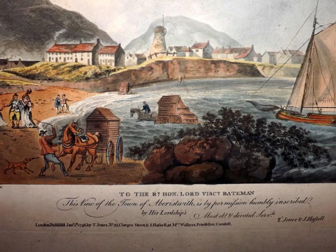 Wales - Aberystwyth 1796 Rare Hand Coloured Print - 2