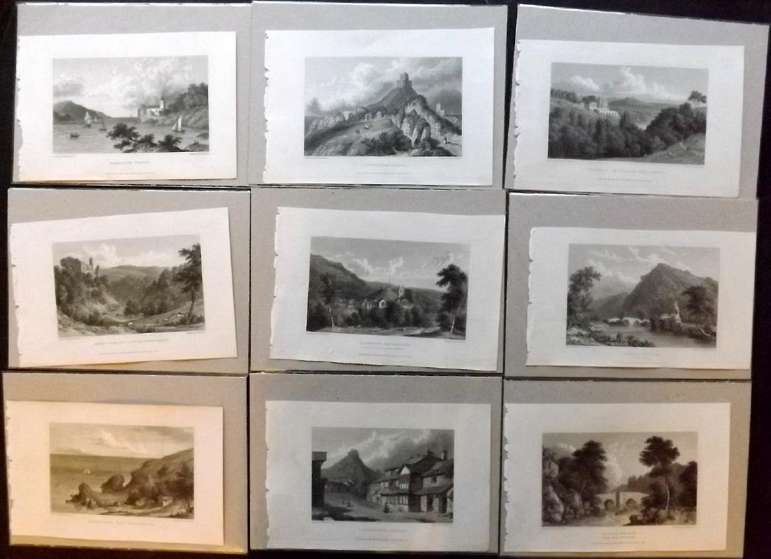 Westall, William 1830 Lot of 9 Mounted British Views