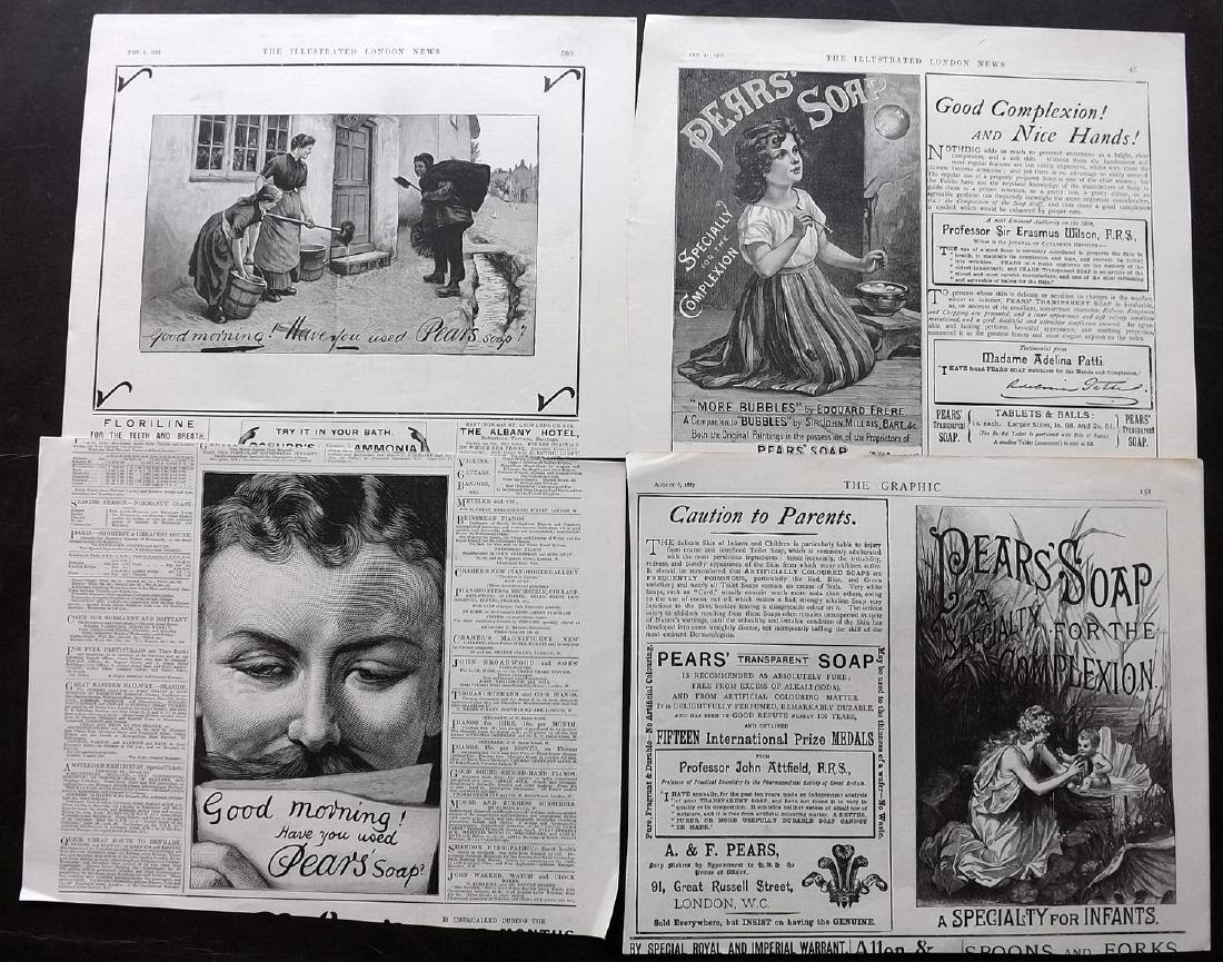 Adverts - Pears Soap C1880s/90s Lot of 90 ILN Graphic - 2