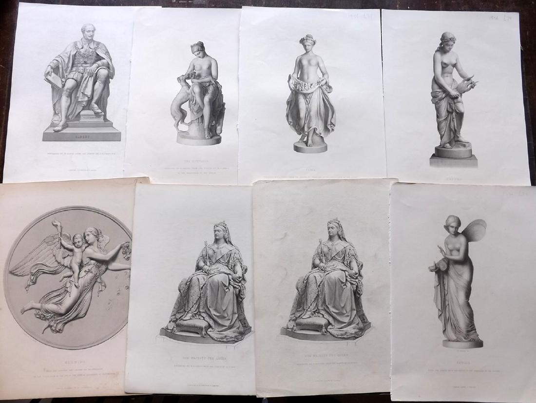 Art Journal C1860 Lot of 10 Steel Engravings. Statues