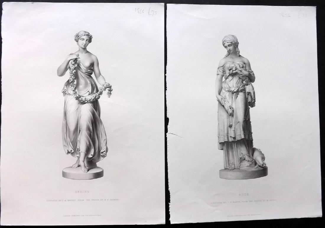 Art Journal C1860 Lot of 10 Steel Engravings. Statues - 2