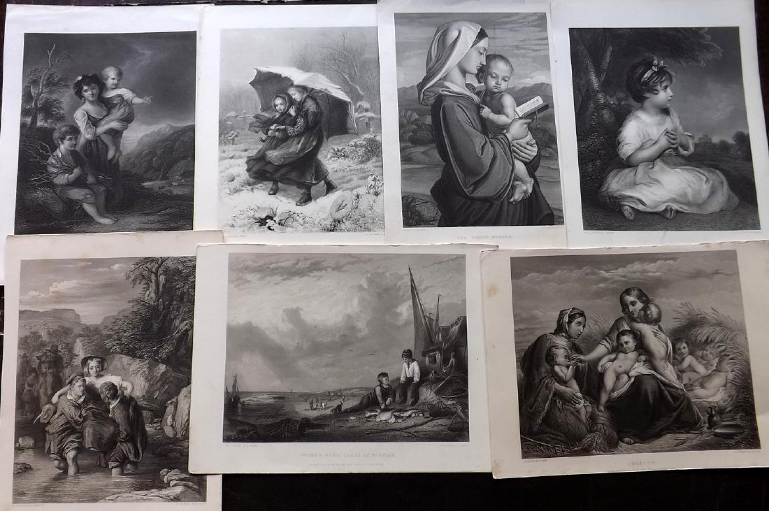 Art Journal C1860 Lot of 12 Steel Engravings. Children