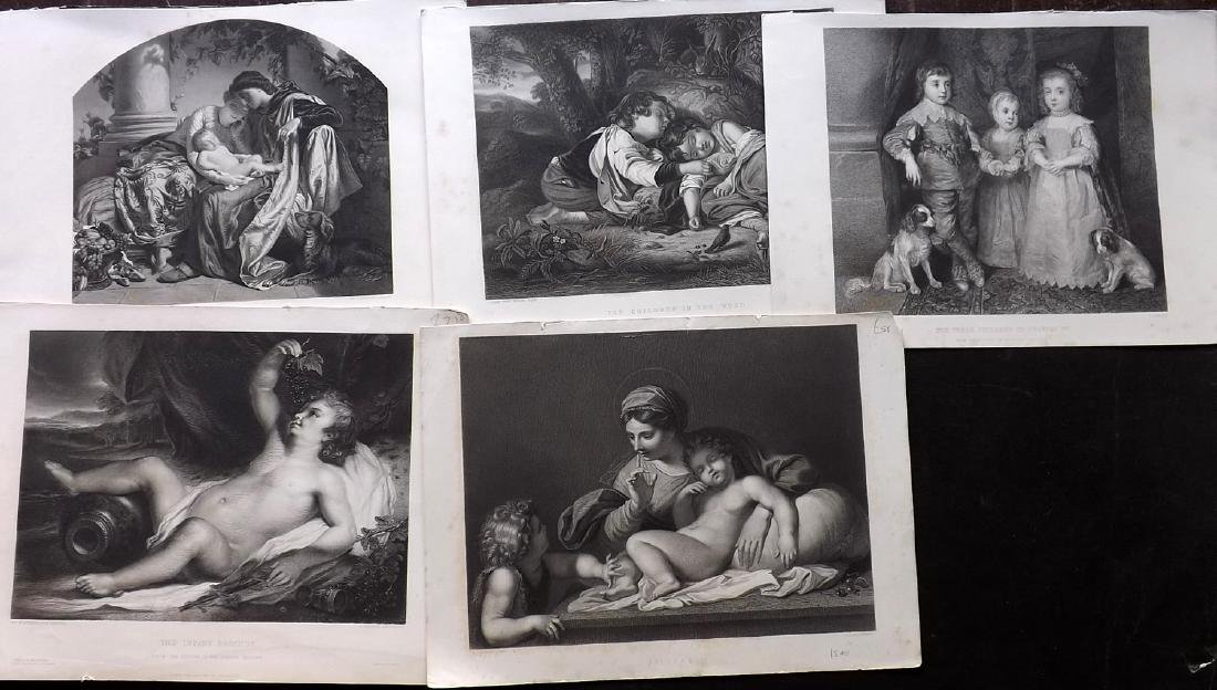Art Journal C1860 Lot of 12 Steel Engravings. Children - 2