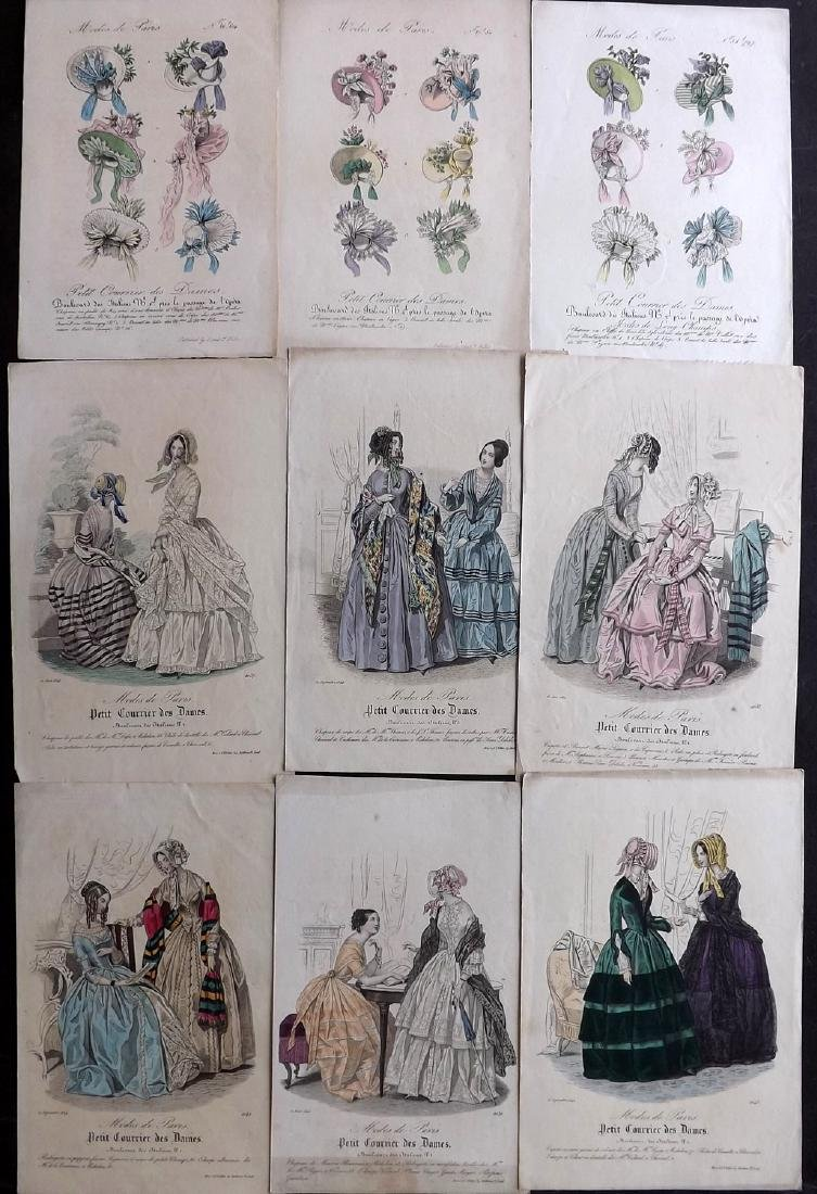 Fashion Plates C1860 Lot of 9 Hand Coloured Prints