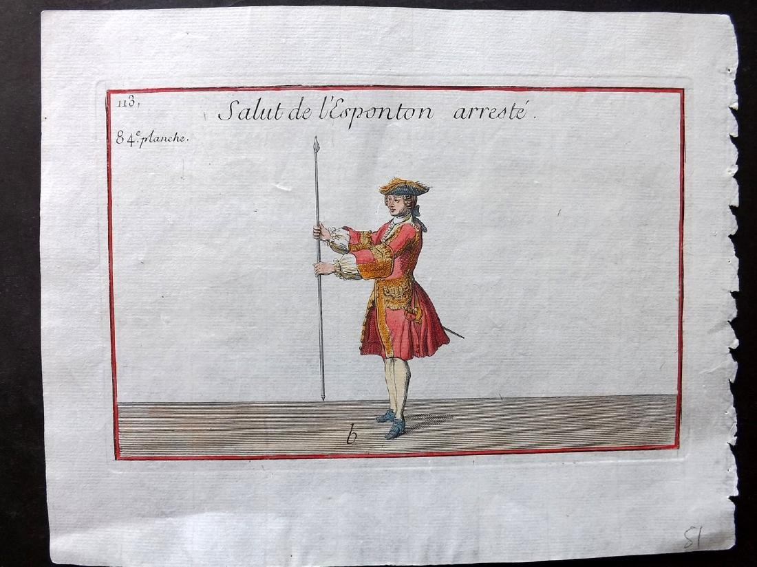 Girard, Pierre 1755 Hand Colored Pikeman Print