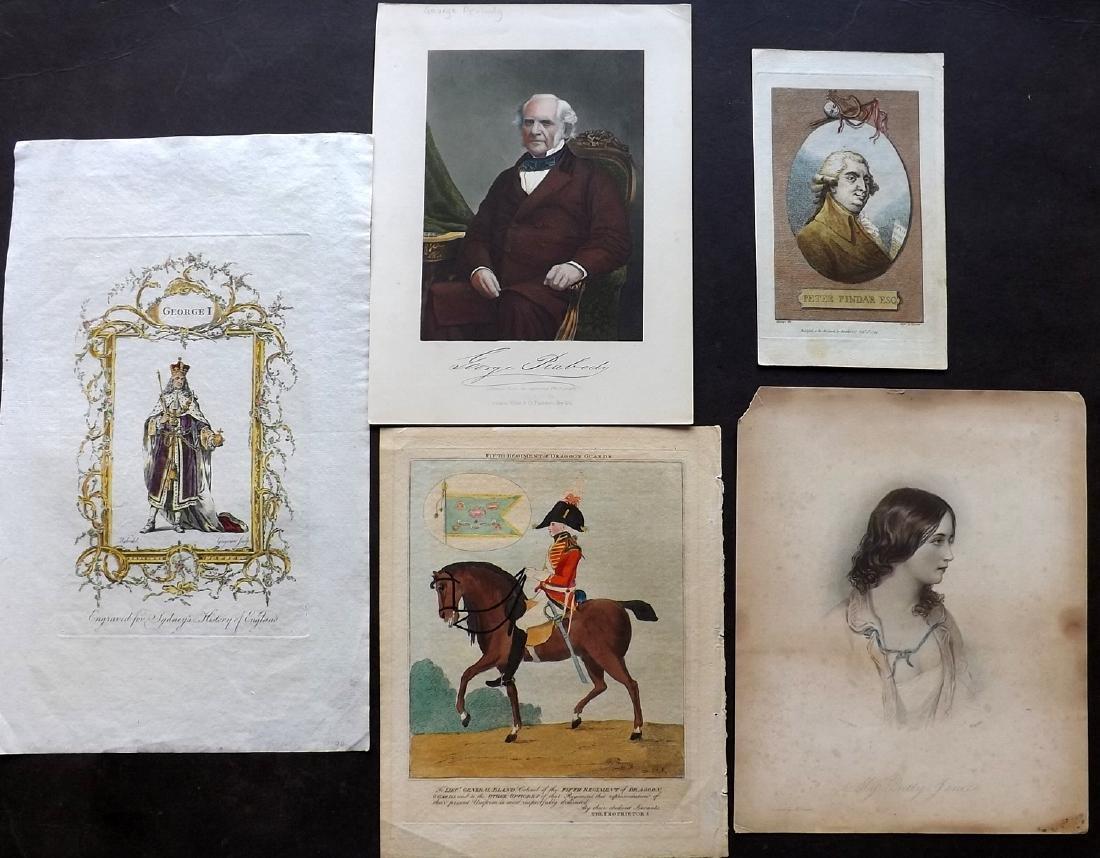 Portraits 1766-C1860 Lot of 5 Hand Coloured Prints