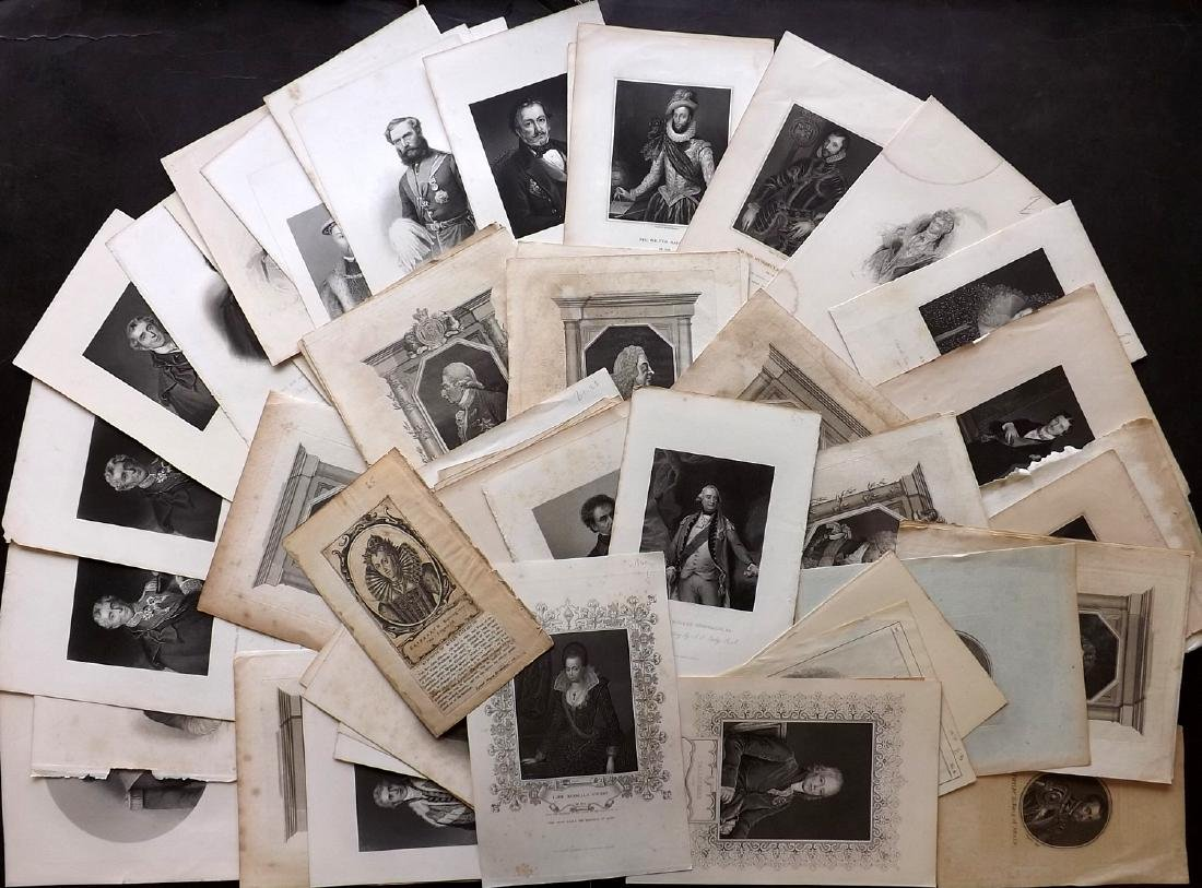 Portraits 18th-19th Lot of 68 British, European, Indian