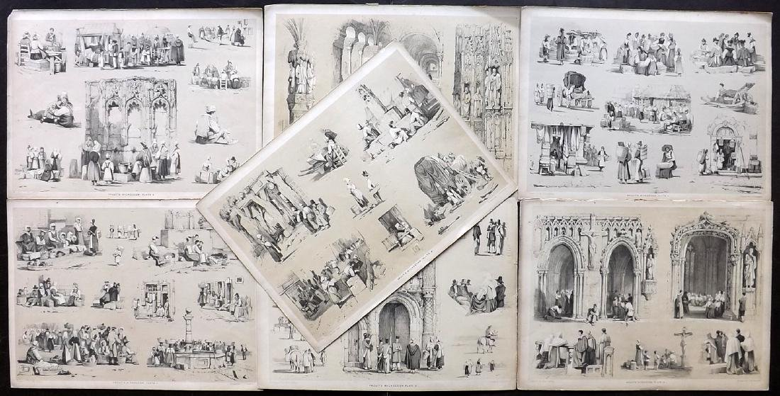 Prout, Samuel 1841 Lot of 7 Prints of Trades, Figures