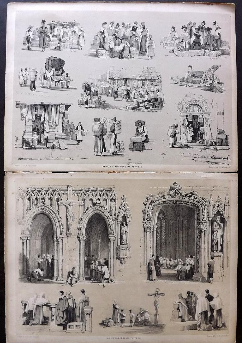 Prout, Samuel 1841 Lot of 7 Prints of Trades, Figures - 2