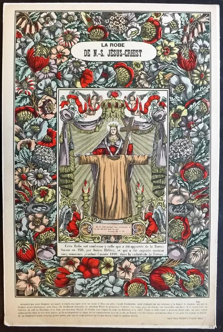 Religious 1890's Large Hand Coloured Epinal Print