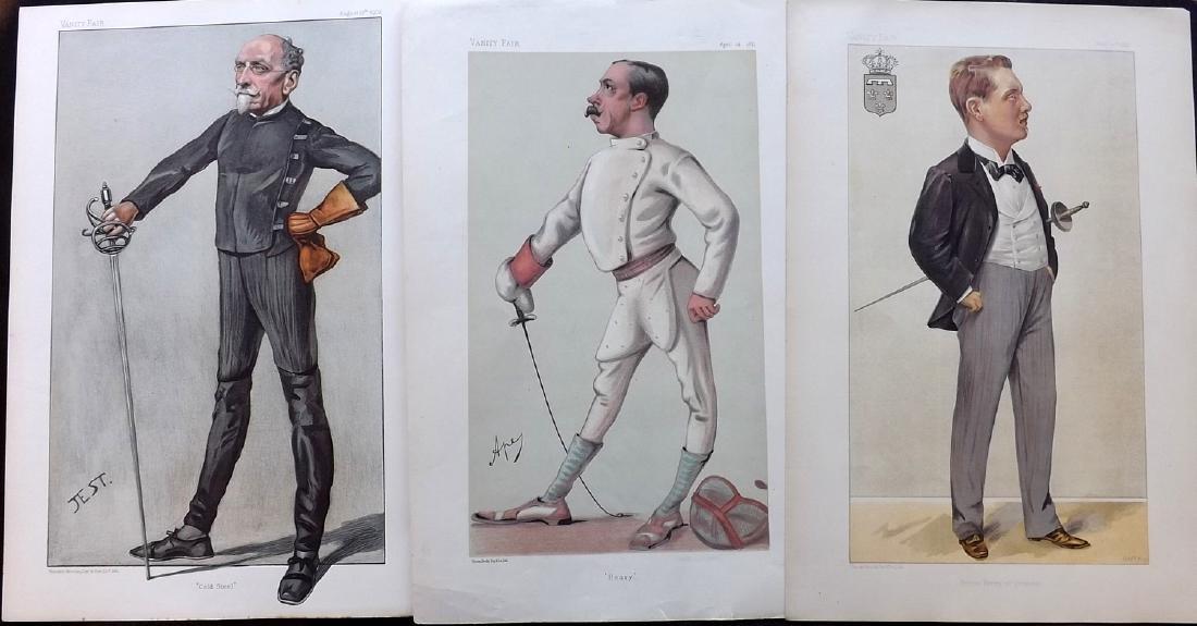 Vanity Fair Prints 1880-1903 Group of 3 Sword Fencers
