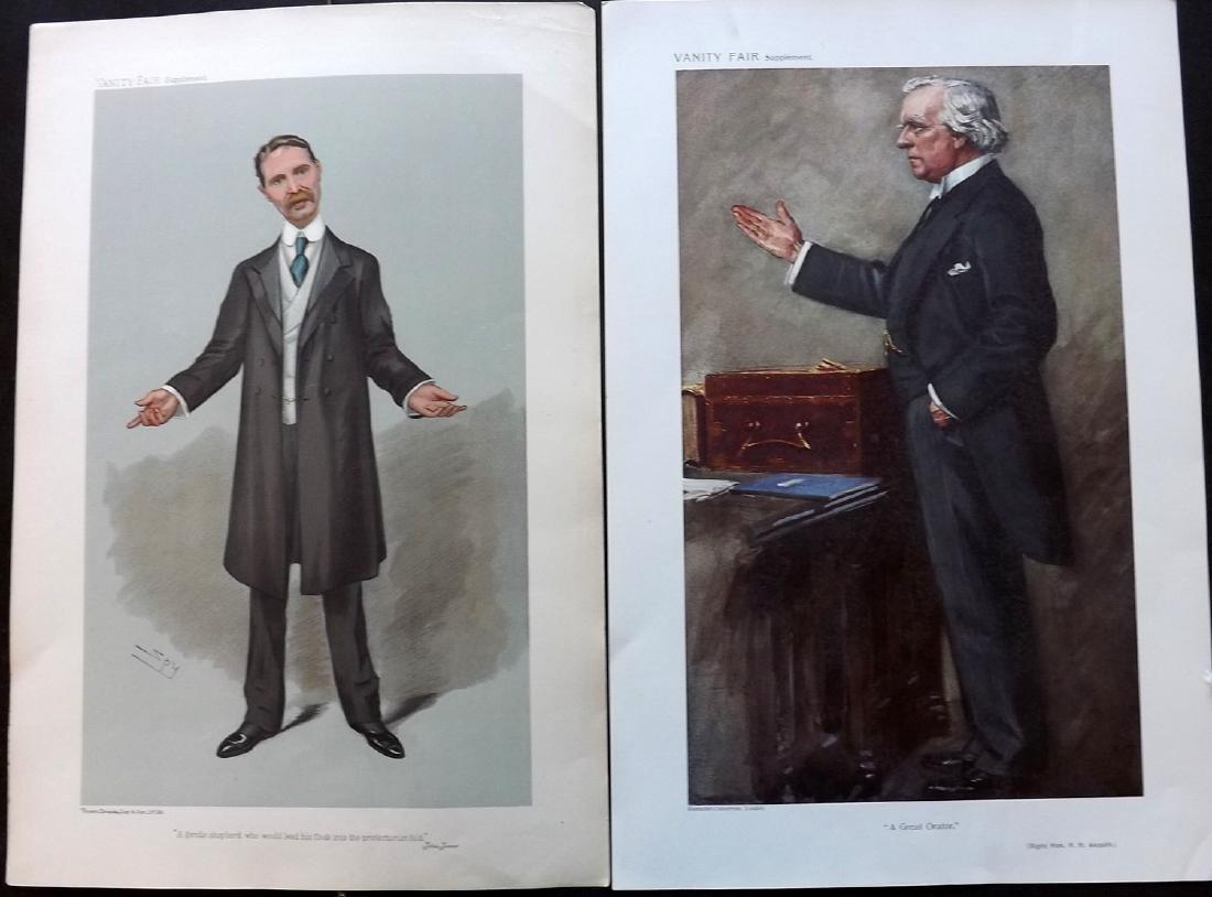 Vanity Fair Prints 1905-10 Pair PM's. Asquith, Bonar