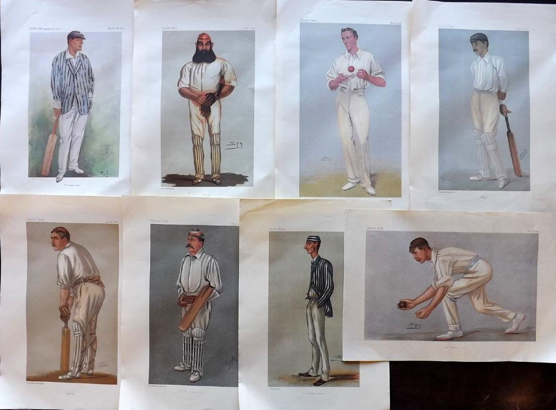 Vanity Fair Prints REPRODUCTIONS Lot of 8 Cricketers