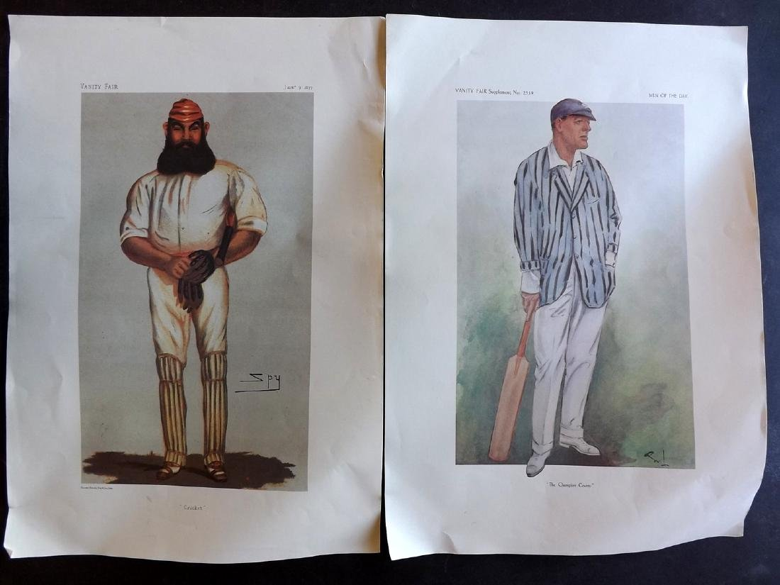 Vanity Fair Prints REPRODUCTIONS Lot of 8 Cricketers - 2