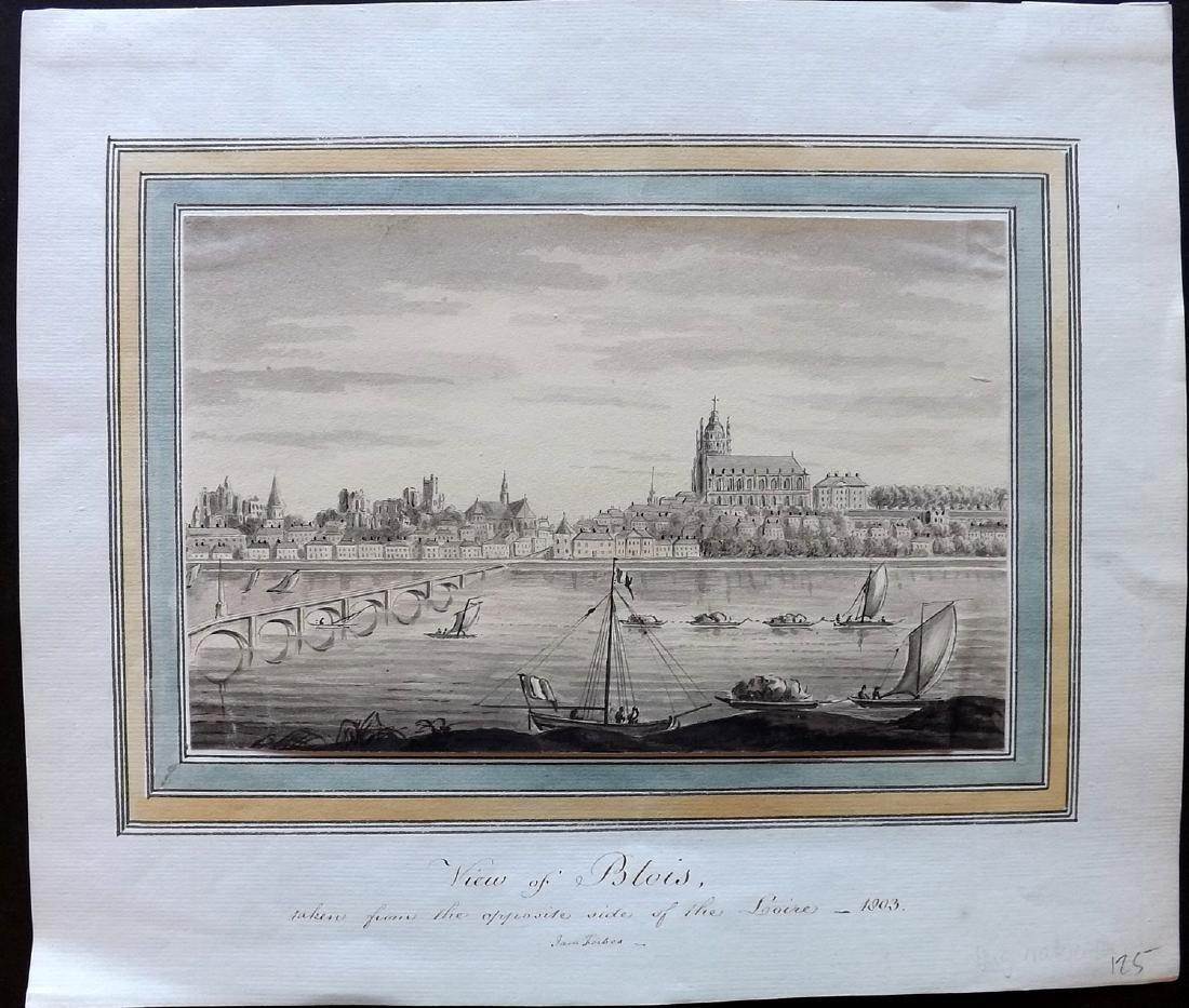 Original Art 1803 Watercolour Blois, Loire River,