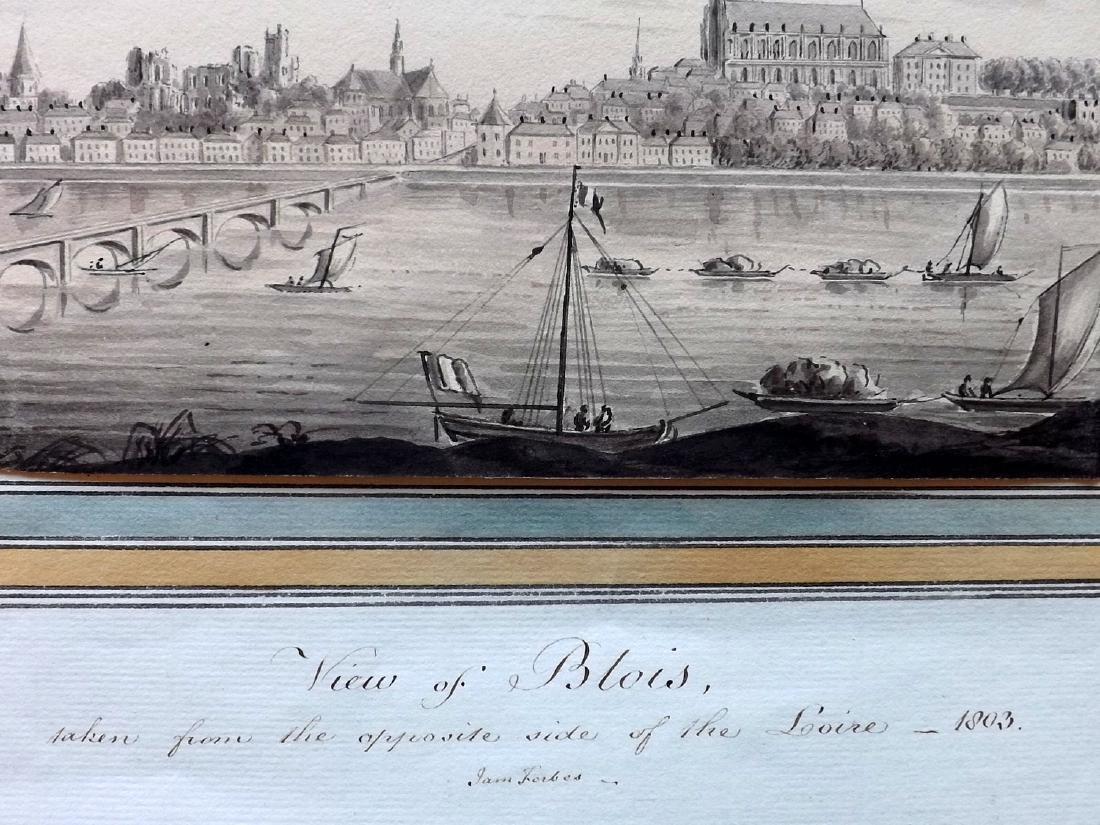 Original Art 1803 Watercolour Blois, Loire River, - 2