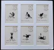 Original Art 19th Cent Bill of Fare Bird set of 6