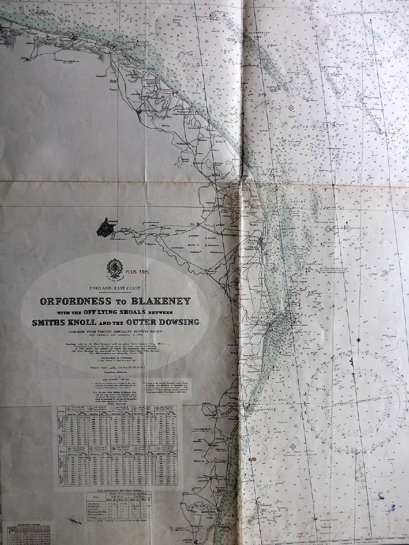 Admiralty Charts 1950's Lot of 4+. Large Maps - 5
