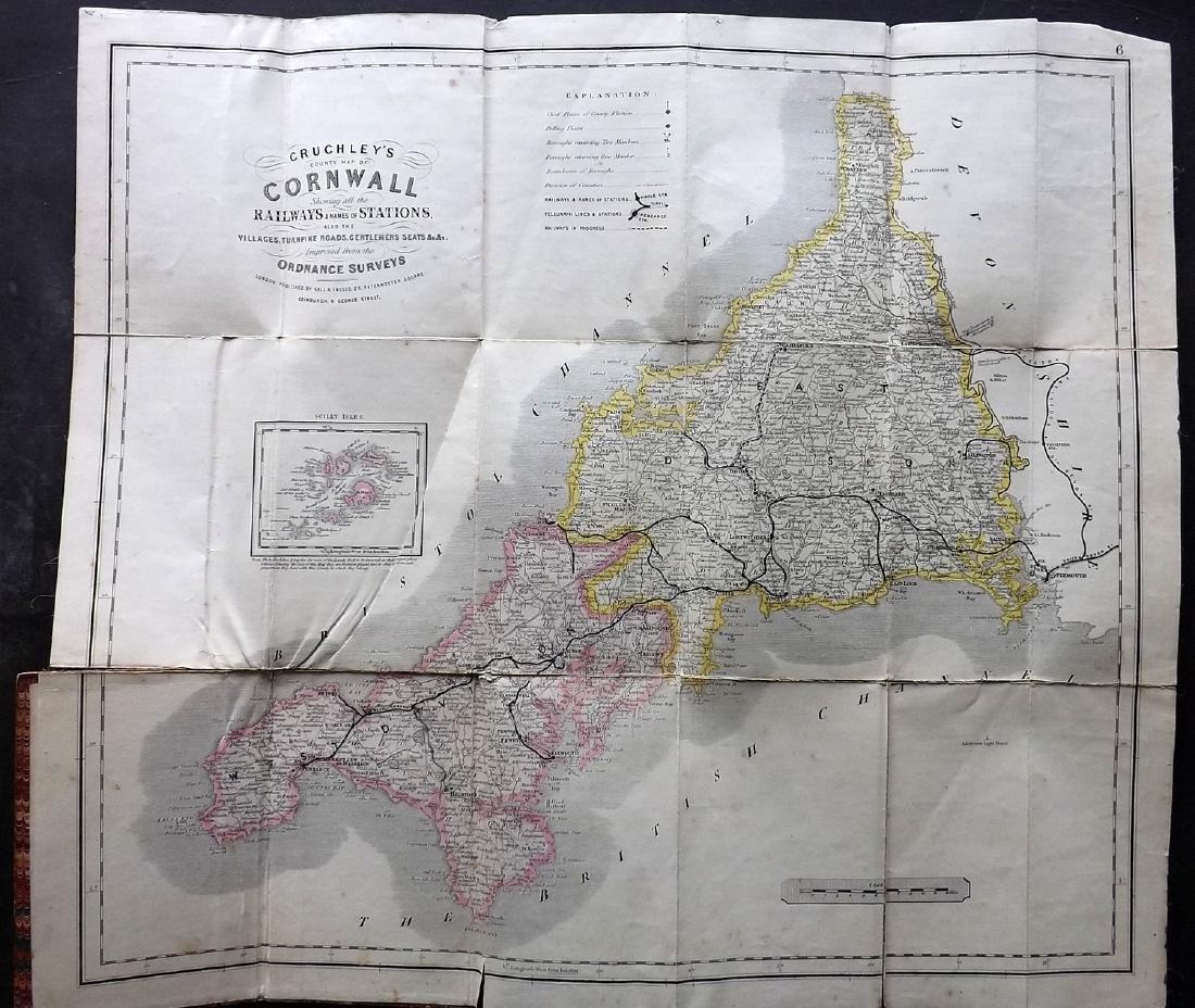 Cruchley, George C1850 Folding HC Map of Cornwall - 2