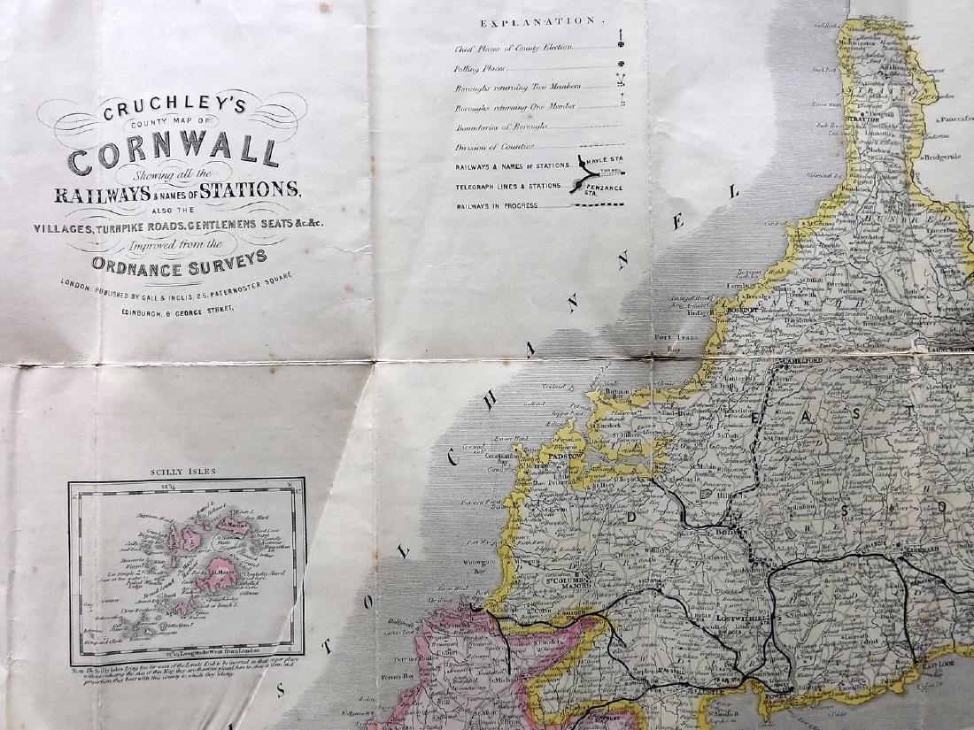 Cruchley, George C1850 Folding HC Map of Cornwall - 3