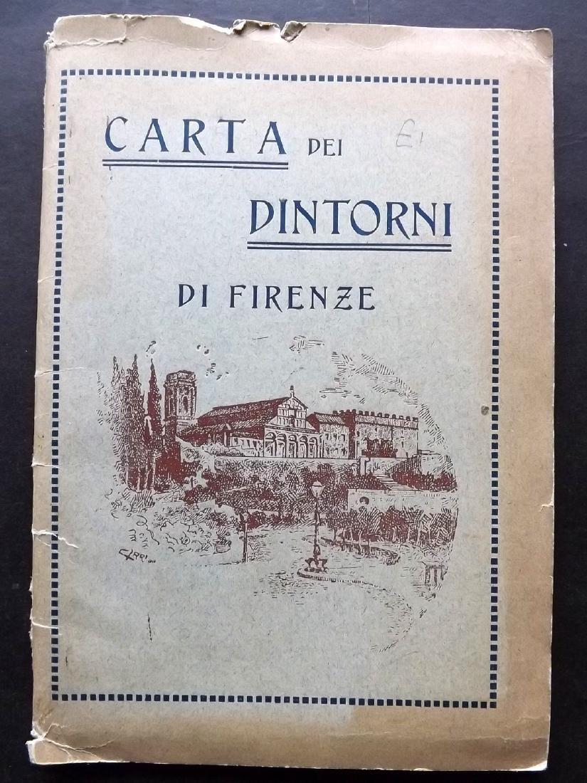 Florence C1920 Large Folding Map. Italy
