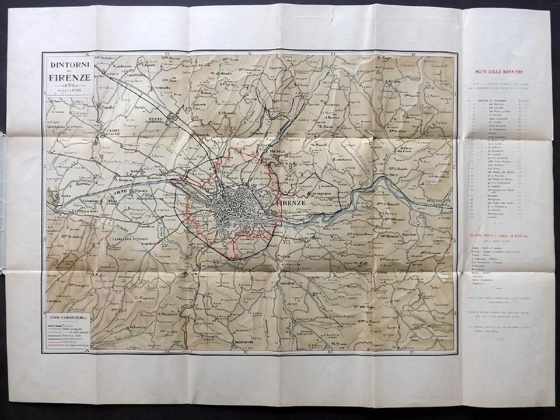 Florence C1920 Large Folding Map. Italy - 2