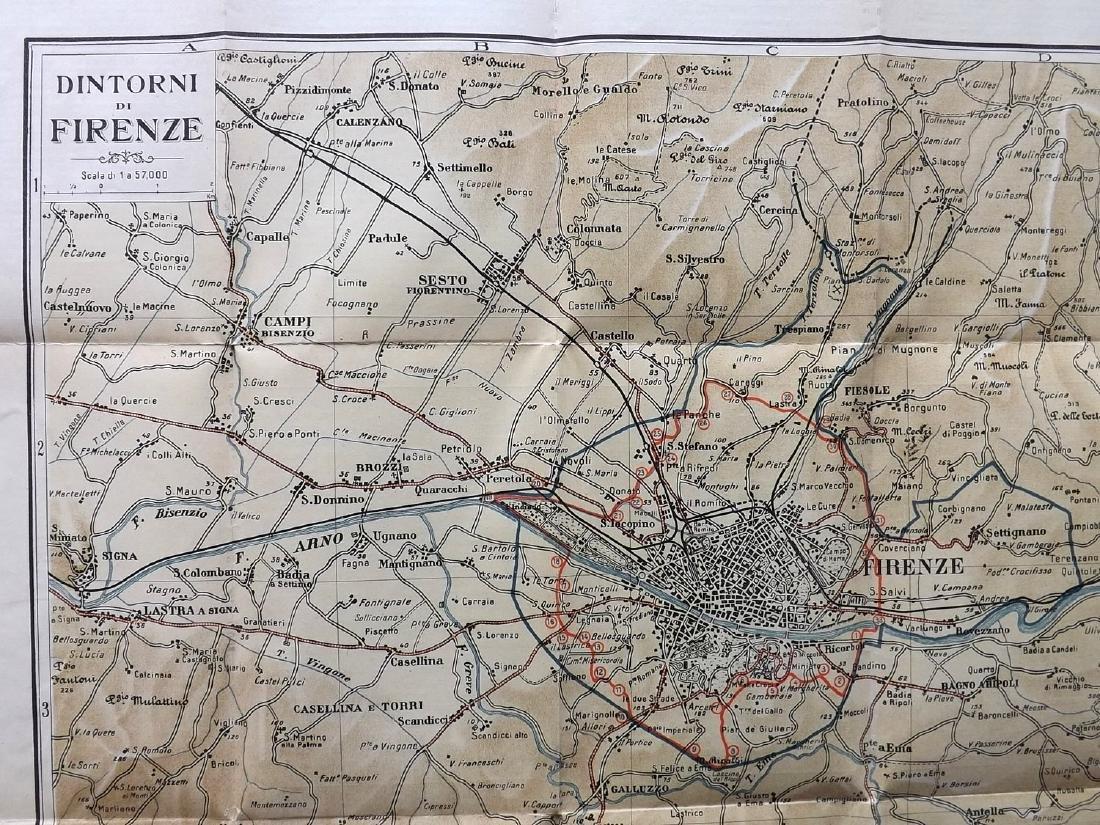 Florence C1920 Large Folding Map. Italy - 3