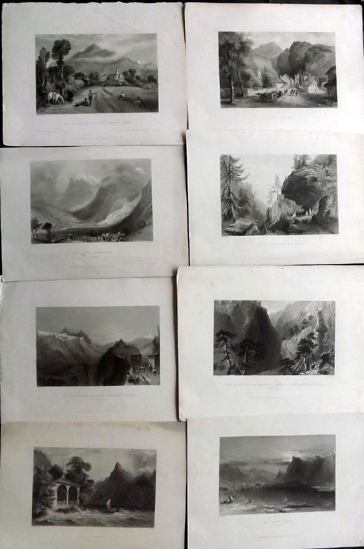 Bartlett, William C1838 Lot of 8 Prints. Switzerland