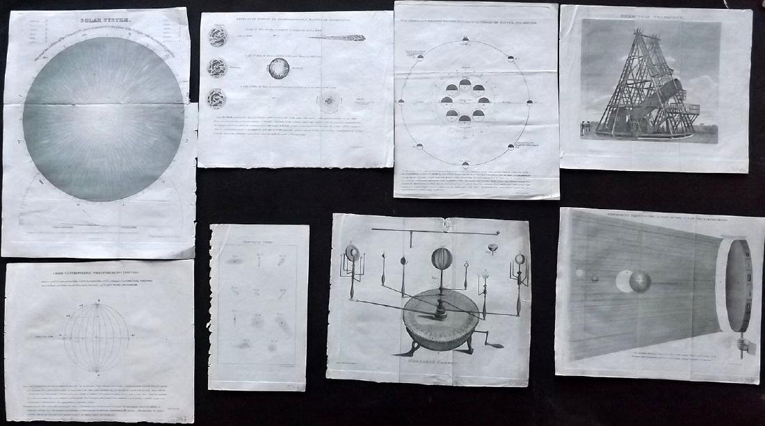 Astronomy, Celestial 1821 Lot of 8 Copper Plates