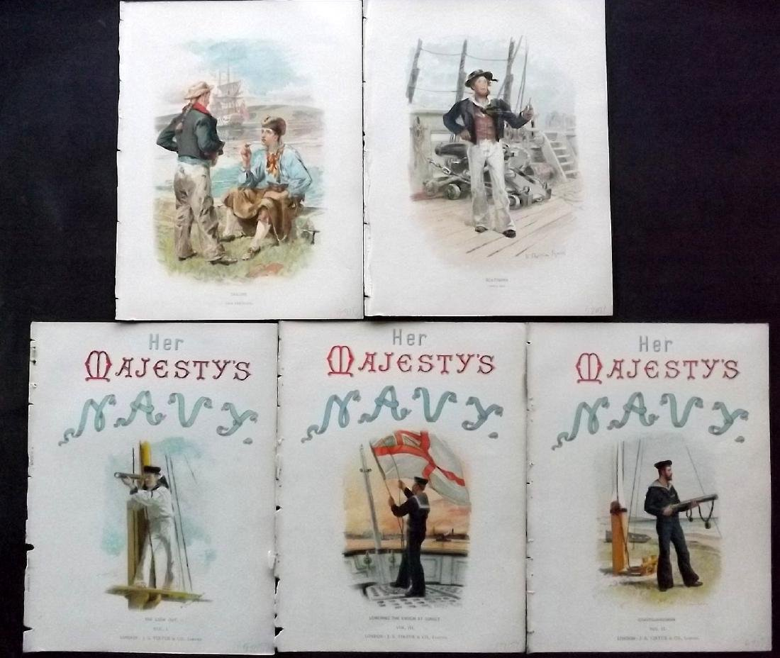 Her Majesty's Navy 1893 Lot of 5 Prints of Sailors