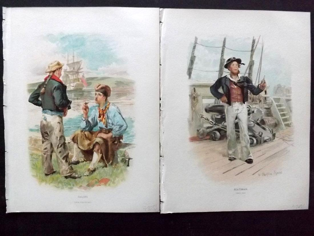 Her Majesty's Navy 1893 Lot of 5 Prints of Sailors - 2