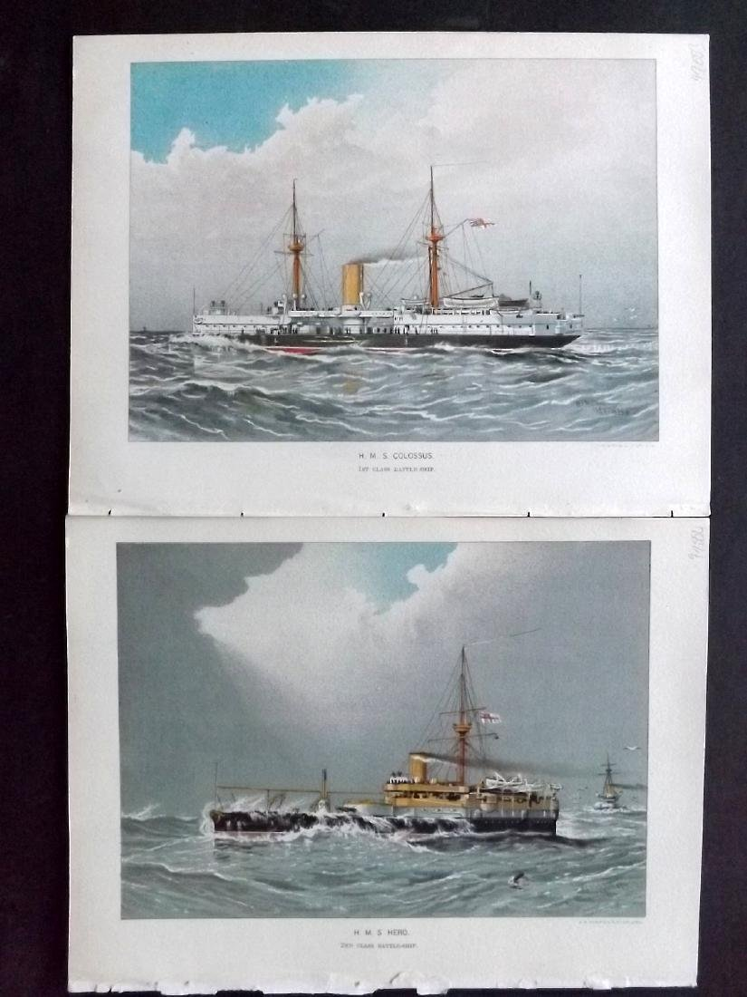 Her Majesty's Navy 1893 Pair of Prints of Ships. HMS