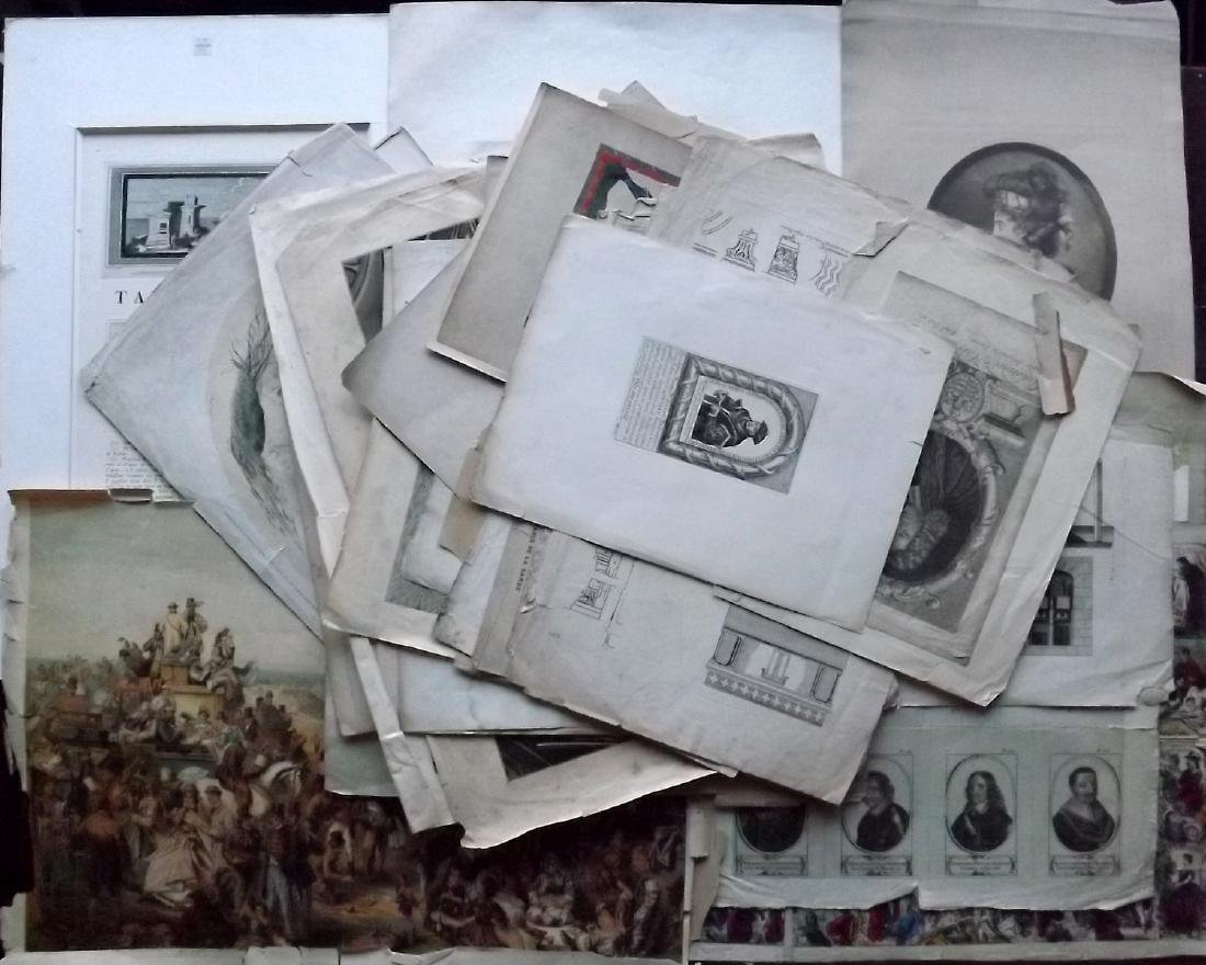 Mixed Folio Prints 18th-19th Century Lot of 30. Faults