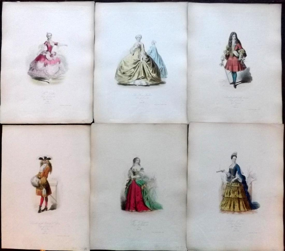 Pauquet, Hippolyte 1868 Lot of 6 Col French Costume