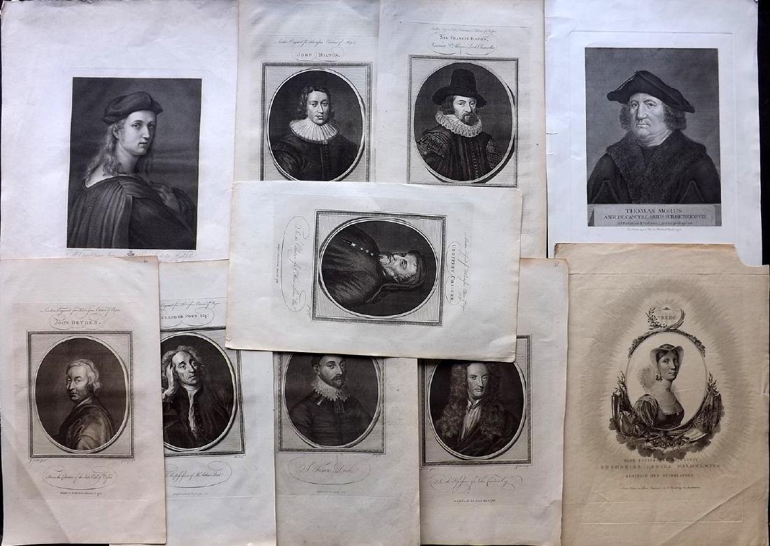 Portraits 18th Century Lot of 10 Folio Copper Plates