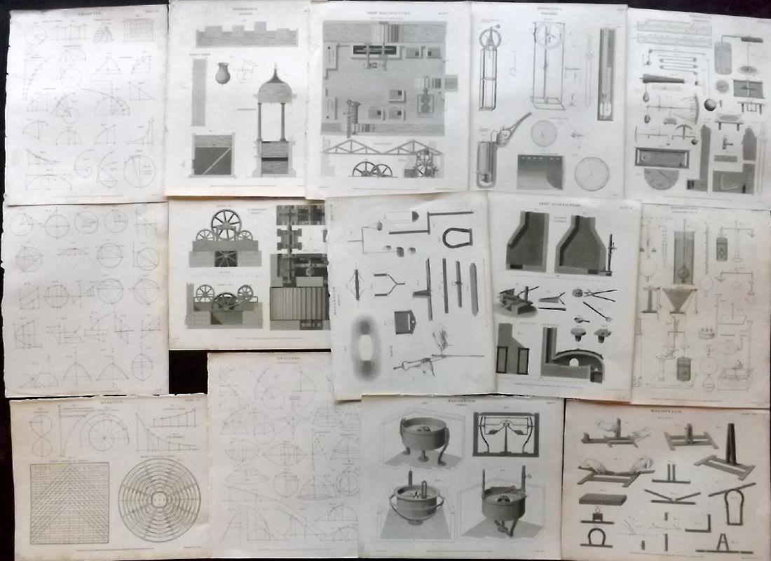 Rees, Abraham C1810 Lot of 14 Science & Tech Prints