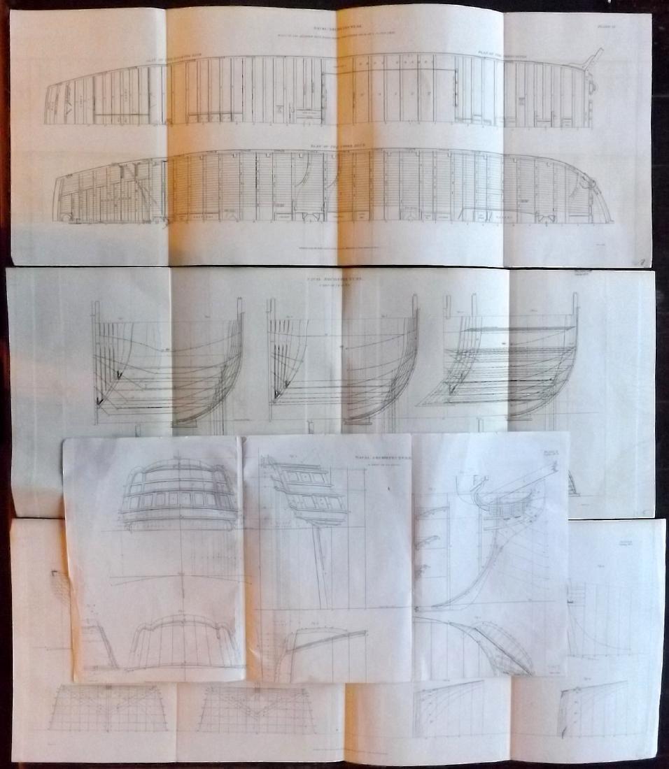 Rees, Abraham C1810 Lot of 4 Large Naval Ship Plans