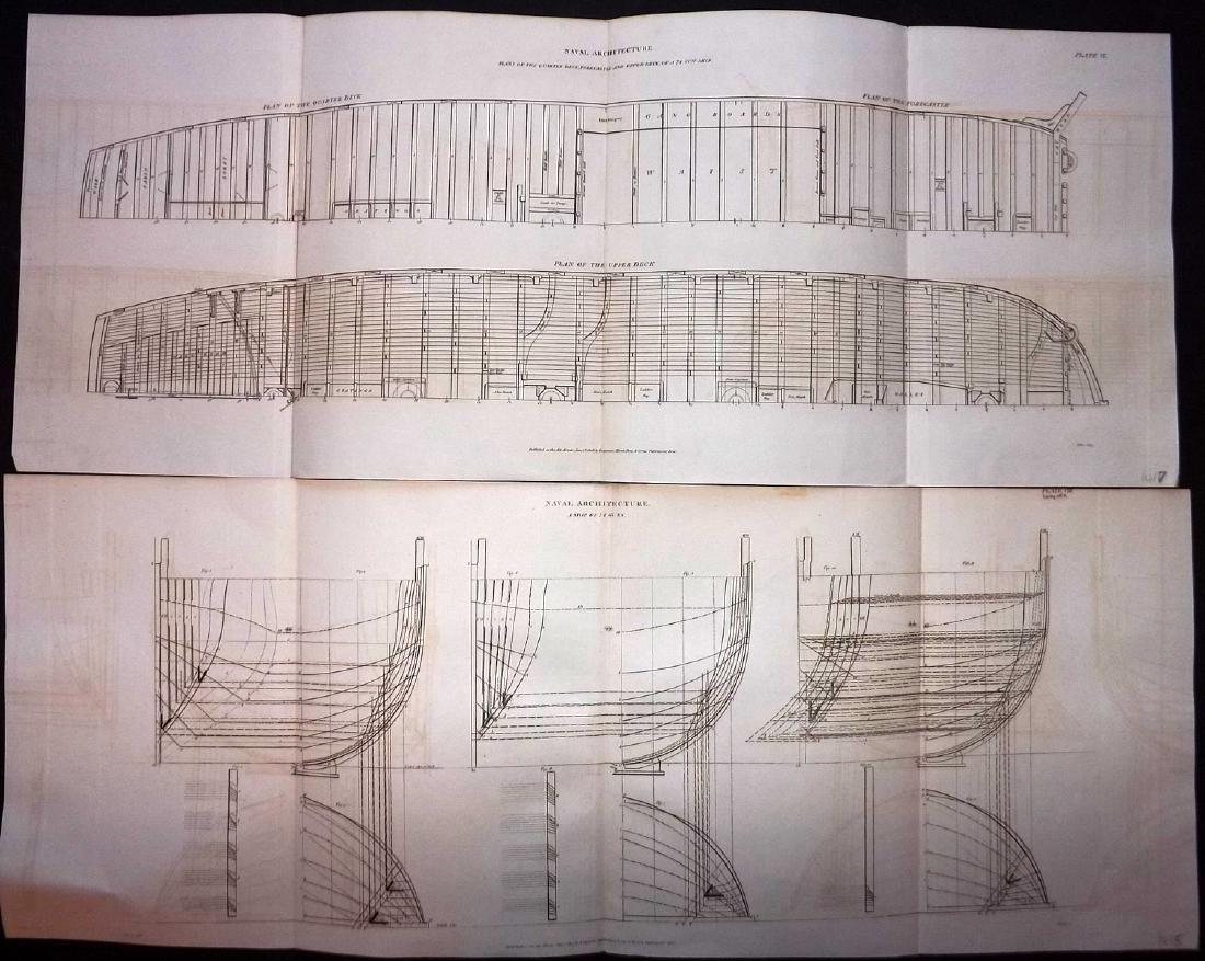 Rees, Abraham C1810 Lot of 4 Large Naval Ship Plans - 2
