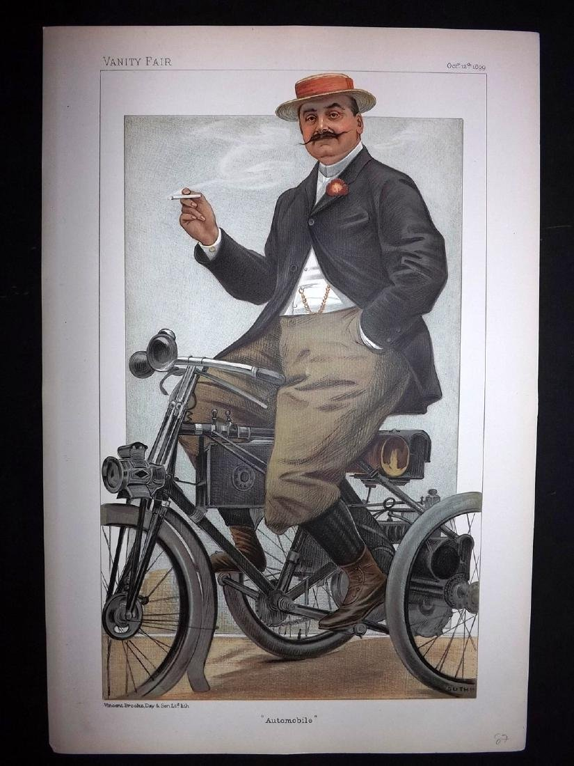 Vanity Fair Print 1899 The Comte De Dion, Automobile