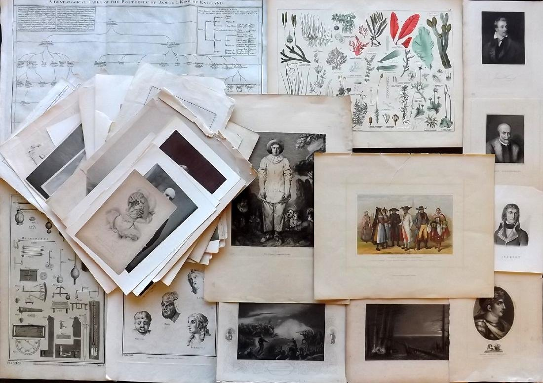 Mixed Prints 18th-19th Century Lot of 50