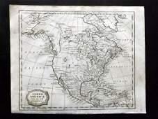Barlow 1807 Antique Map of North America. USA Canada