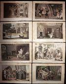 Rowlandson, Thomas 1820 Lot of 8 HC Dr. Syntax Prints