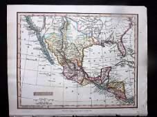 Clarke & Bingley 1824 Hand Coloured Map of Mexico