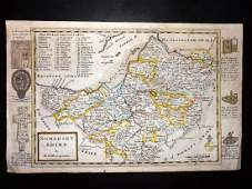 Moll, Herman 1724 Hand Coloured Map of Somerset