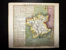 Toms & Badeslade 1742 Hand Coloured Map of Worcester