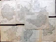 Weller Edward C1860 Lot of 7 UK County Maps